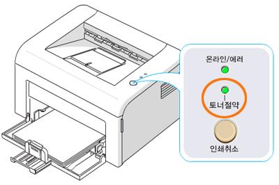 인쇄취소 버튼을 짧게 눌러 토너절약 램프를 OFF 상태로 설정