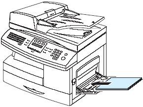 인쇄될 면이 아래로 향하게 하고 용지를 용지함 오른쪽 끝에 붙여 넣는 그림