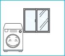 세탁기가 얼지 않도록 창문을 닫으라는 이미지