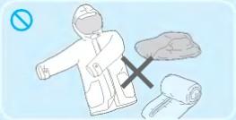 방수성 시트,메트,의류는 세탁이 안됨을 표시