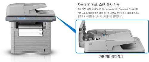 자동 양면 인쇄, 스캔, 복사 가능의 기능을 강조한 프린터 사진