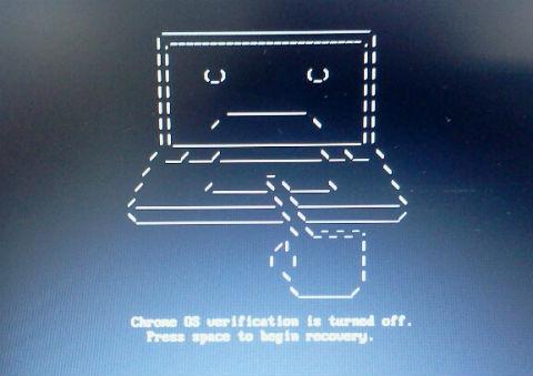 딥 스위치를 개발자 모드로 변경한뒤 크롬북을 키게되면 나오는 화면