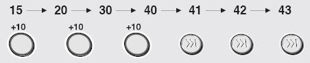 15번 재생 중에 43번을 선택하려면 +10 버튼을 3회 누른 후 버튼을 3회을 눌러야 하는 것을 그림으로 나타낸 이미지