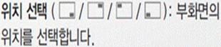 위치 선택(우측하단, 우측상단, 좌측상단, 좌측하단):부화면의 위치를 선택합니다.