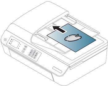 제품 상단에 원본용지를 위로 오도록하여 올려놓는 예시 화면