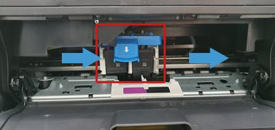 앞쪽 가운데 보이는 잉크 캐리지를 오른쪽으로 밀어주는 예시 화면