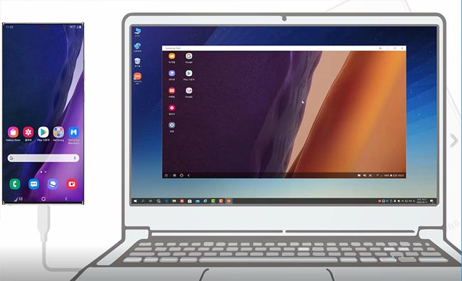 Samsung DeX와 컴퓨터가 연결된 상태에서 콘텐츠를 주고 받을 수 있습니다