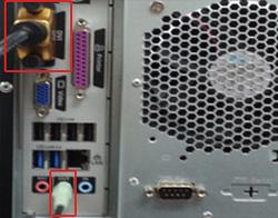 PC 뒷면에 DVI 와 오디오 OUT(녹색단자)에 음성케이블  연결 이미지 입니다.