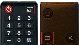 ① TV/외부입력 (또는 2019년형 tv모니터 리모컨의 소스 버튼 이미지) 버튼을 누름