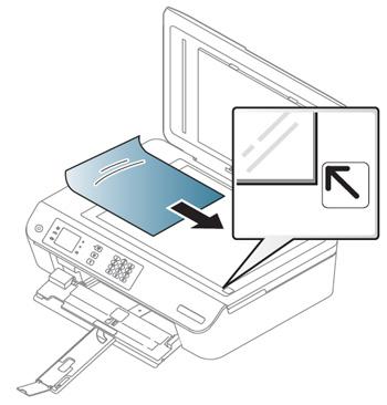 스캐너 덮개을 들어 올린 후 원본용지를 아래로 향하게 놓는 예시 화면