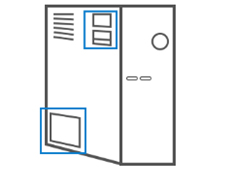 데스크탑 pc 왼쪽면 하단의 라벨 위치 안내 화면