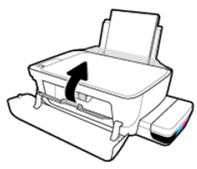 용지 제거 후 잉크 카트리지 교체 덮개를 닫는 예시 화면