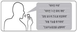 리모컨의 마이크를 누른 상태에서 음성 명령을 말하는 이미지