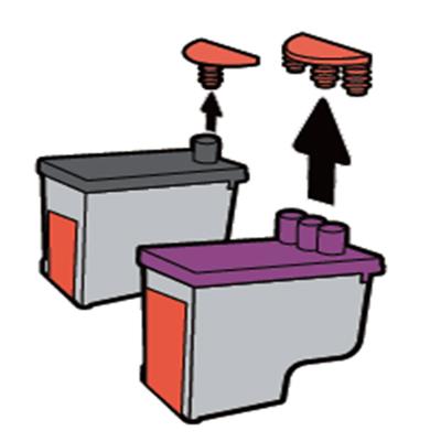 검정 잉크와 컬러 잉크 윗부분에 있는 마개를 제거하는 화면
