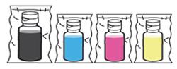 검정, 빨강, 파랑, 노랑 잉크 이미지