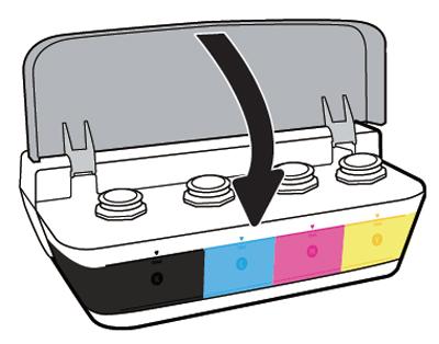 파란색, 빨간색, 검정색 잉크별로 충전한 후 덮개를 닫는 화면