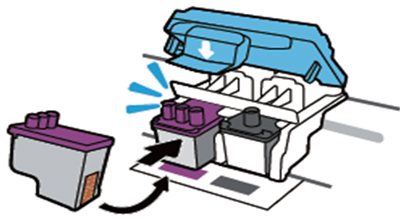 컬러 잉크 카트리지를 왼쪽에, 검정 잉크 카트리지를 오른쪽에 장착하는 예시 화면