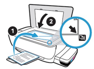 정렬페이지가 인쇄되어 나오면 인쇄된 부분이 아래로 향하도록 올려놓고 스캐너 덮개를 닫는 화면