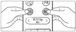 리모컨의 모드 버튼과 청정 버튼을 동시에 누르는 이미지