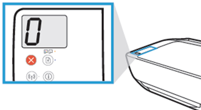 제품 상단 조작부의 표시창에 0으로 표시된 화면