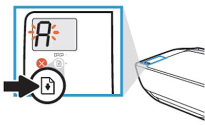 제품 상단의 조작부에서 다시시작 버튼을 3초간 눌러 A로 바뀌는 예시 화면