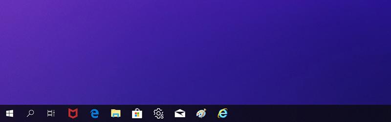 작업 표시줄의 아이콘 크기가 정상적으로 커진 예시 화면
