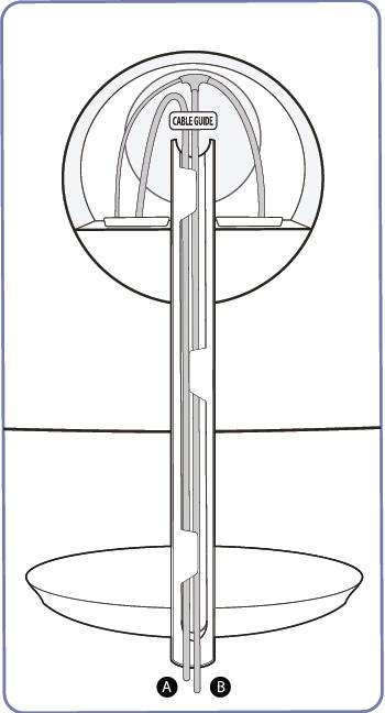 A 케이블과 B 케이블이 모두 받침대 연결부쪽에 연결완료된 예시 화면