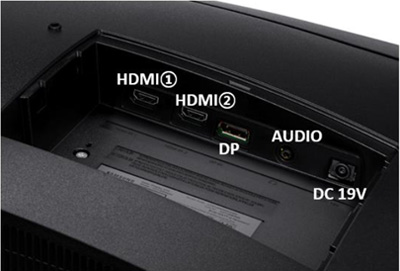CJG50 모니터 뒷면 덮개를 열면 HDMI1, HDMI2, DP, AUDIO, DC 19V 단자가 순서대로 보이는 예시 화면