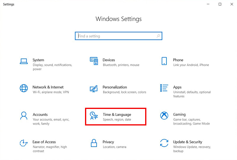 Windows Settings 창에서 가운데 아래에 있는 Time & Language를 선택하는 화면