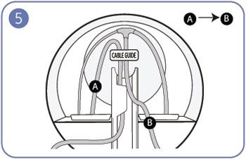 A 케이블을 먼저 받침대 연결부에 끼워넣고, B 케이블을 그 다음으로 끼워넣는 예시 화면