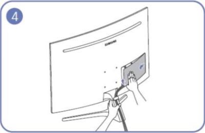 뒷면 커버를 분리해야 할 경우 한 손으로 받침대를 잡은 후 다른 손으로 받침대 후면 단자 커버를 분리할 수 있는 예시 화면
