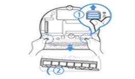 1. 브러쉬 덮개 버튼을 화살표 방향으로 밀어서 브러쉬 덮개를 분리하여 주세요.