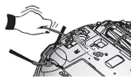 2. 구동 바퀴에 이물질이 있는지 확인 후 끝이 날카롭지 않은 가는 막대나 집게 등으로 제거해 주세요.