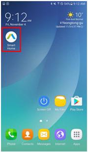 삼성 스마트 홈을 선택하는 이미지