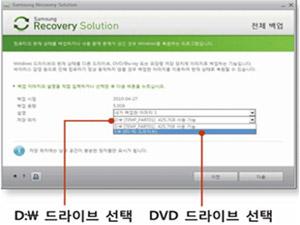D:\ 드라이브 선택 후 dvd 드라이브 선택화면