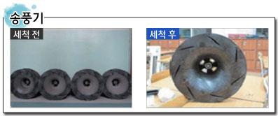 송풍기 세척 전과 세척 후의 비교 이미지입니다.