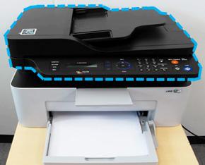 프린터 윗면 출력용지 배출되는 위치화면