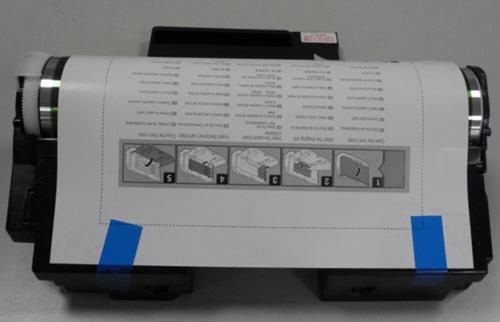 OPC드럼 보호 용지와 파란색 테이프 위치 및 제거 화면