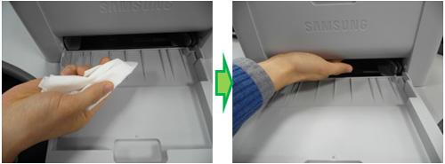 급지롤러를 물티슈로 청소하는 예시 화면