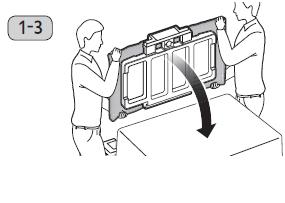 테이블 위에 부드러운 천을 깔고 TV 스크린이 천 방향으로 향하도록 눕히는 이미지