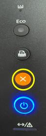 주황색 취소 버튼 위치와 그 아래 청색 표시등 켜진 SL-M262x M282x 시리즈 제품 예시 화면