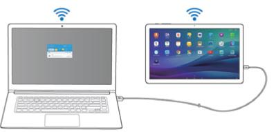 사이드 싱크를 이용하여 pc와 태블릿과 연결된 화면