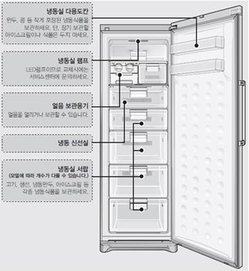 냉동고 내부 구조 이미지