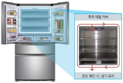 후면에 메탈커버로 되어 있고, 온도 확인시 냉기가 유지되는 이미지