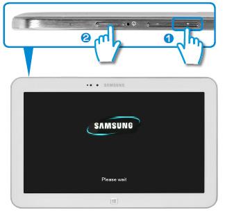 제품 위에 있는 음량조절+버튼과 전원 버튼 위치 안내 화면