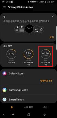 Galaxy Wearable 실행 RAM 선택
