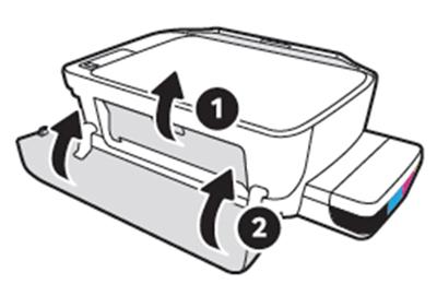 앞면의 잉크 카트리지 덮개를 닫고 맨 앞면 덮개까지 닫는 화면