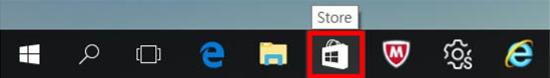 작업표시줄에서 Windows Store 아이콘을 선택함