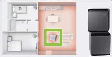 큐브 공기청정기 분리한 이미지