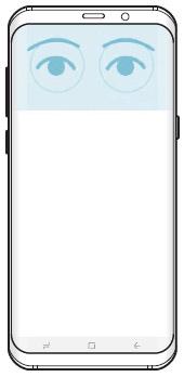 휴대폰 상단에서 홍채 인식되는 예시 화면